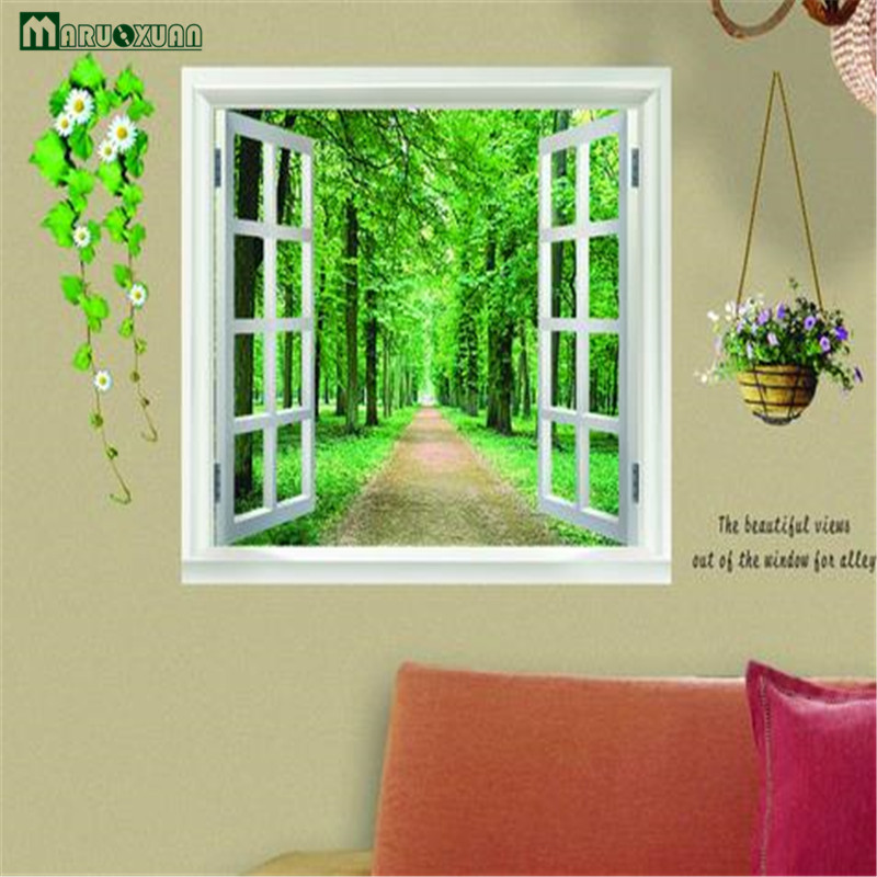 Maruoxuan Green Garden View False Landscape Wall Stickers Bedroom Living Room Art Mural Wall Poster For Kids Room Decals