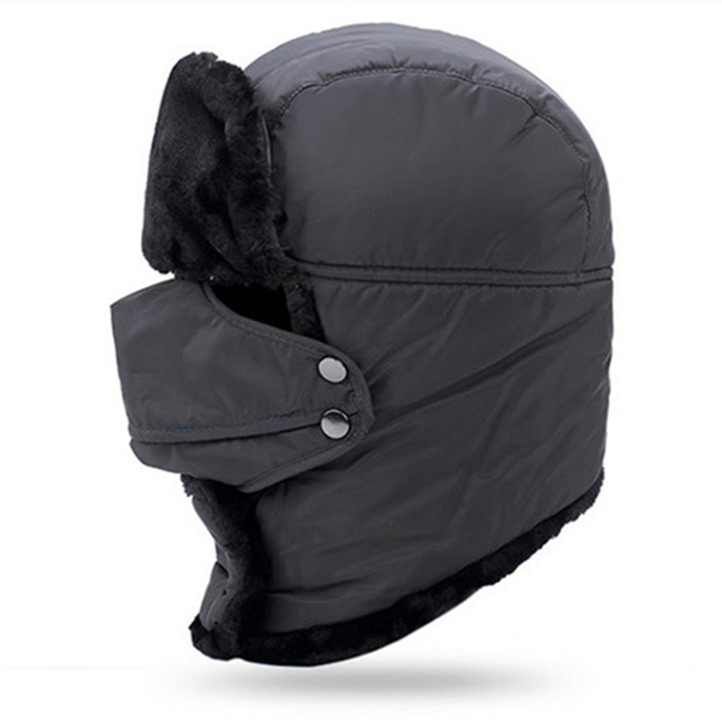 dc25a2c841e Winter Men And Women Warm Hat Plus Velvet Thicker Bomber Hats With A Mask  Cycling Resist