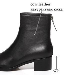 Image 4 - ALLBITEFO naturale del cuoio genuino tacchi alti stivali di cuoio delle donne punta quadrata tallone spesso caviglia stivali per le donne nuovi stivali invernali