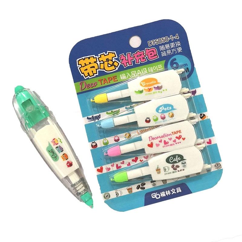 4pcs/Set Korea Creative Correction Tape Refill  Pack Cute Sticker For Kids Cartoon Toys Learning Tool