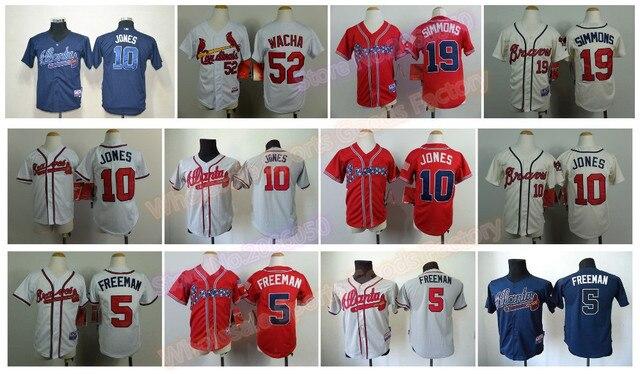 28098a963 Youth Atlanta Braves Jerseys 10 Chipper Jones Jersey Boys 5 Freddie Freeman  19 Andrelton Simmon Kids Baseball Jerseys Red White