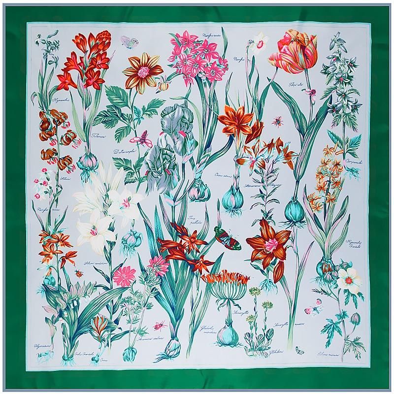 POBING 100% Silk Scarf Floral Print Woman Scarves&Wraps Square Foulards Big Hijab Lady Neckerchief Female Headband 130*130CM