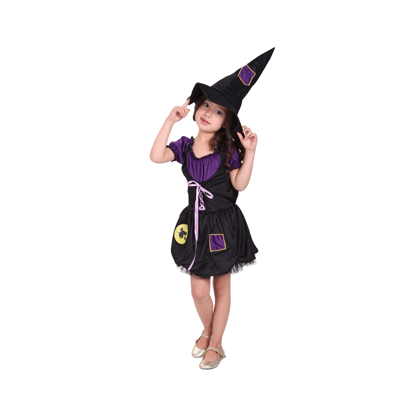 buy beautiful girls witch halloween costume with hat fairy fancy dress up for kids childrens cosplay costume from reliable witch halloween