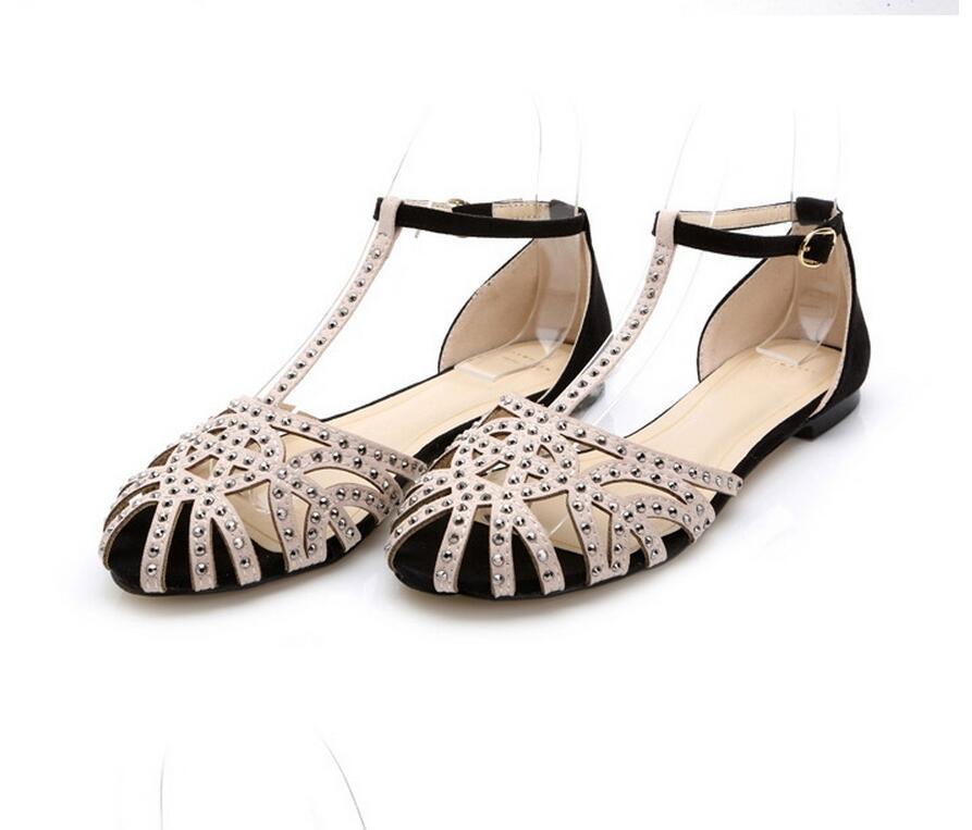 6a7f002b71 2017 Flat Rhinestone Shoes Woman Zapatos Mujer Gladiator Women Sandals  Gladiadora Sem Salto Sandalias Mujer Rasteirinha Feminina