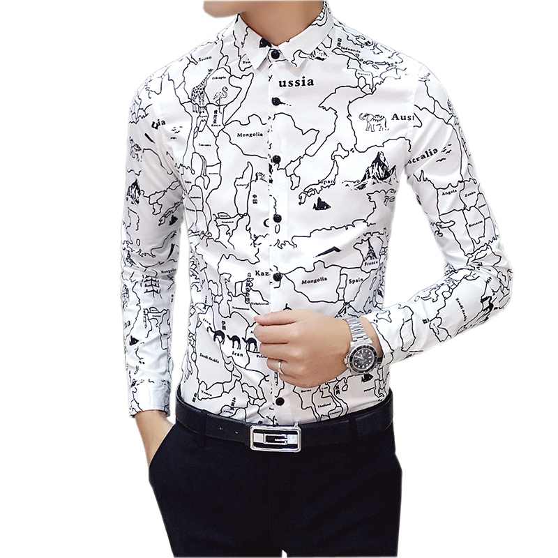 Men shirt 2016 new design printed map male shirts fashion for Mens printed long sleeve shirts