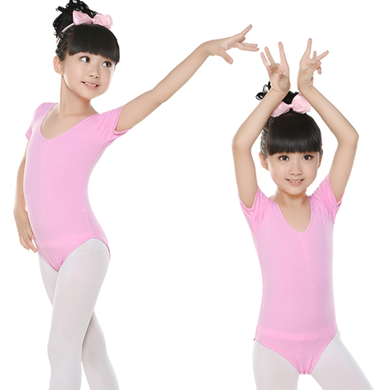 Hot Sale High-Grade Toddler Kids Cotton Pink  Ballet Dance Gymnastic Leotard Girls Short Sleeve Ballet Body Ballet Leotards