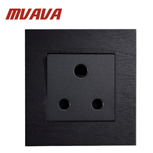 MVAVA 15A/16A South Africa Socket 3 Pin Luxury Wall Light Switch 110~250V Black Artificial Wood Panel UK Standard