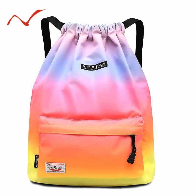 Waterproof Gradient Drawstring Gym Bag Woman Girls Sports Backpack Training Swimming Fitness Bag Softback Surfing Bag