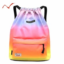 Waterproof Gradient Drawstring Gym Bag Woman Girls Sports Backpack Training Swimming Fitness Bag Softback Surfing Bag цена