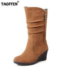 TAOFFEN Tamaño 28-50 Botines de Cuña de Las Mujeres Media Corta Color Del Arco Iris de Invierno Bota de la Nieve Calzado de Moda Botas Cálidas Zapatos Feminina