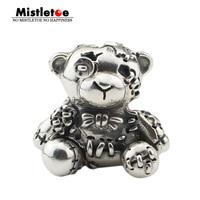 Mistletoe Genuine 925 Sterling Silver Bear Hug Me 2.0 Charm Bead Fit OHM Troll And Pan Bracelet Jewelry