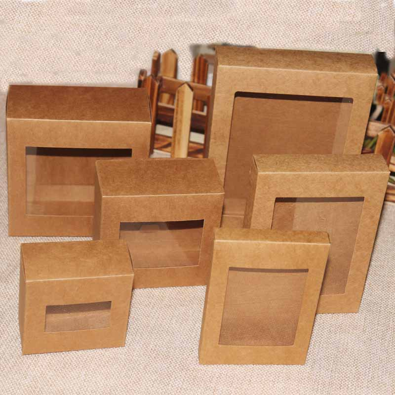 20 Pcs DIY Vintage  Color Kraft Paper Gift Box Package With Clear Pvc Window Box Candy Favors Arts&krafts Display Packaging Box
