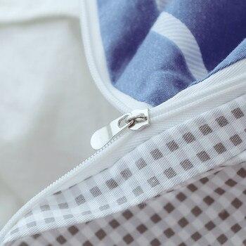 сине белые полосатые постельные принадлежности | Синий и белый полосатый узор хлопок 3 шт постельных принадлежностей S постельное белье простой стиль постельных принадлежностей зимний пол...