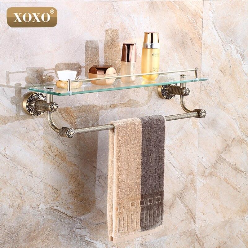 xoxo luxury carving antique single tier bathroom glass shelf wall mounted bathroom cosmetic storage rack bathroom