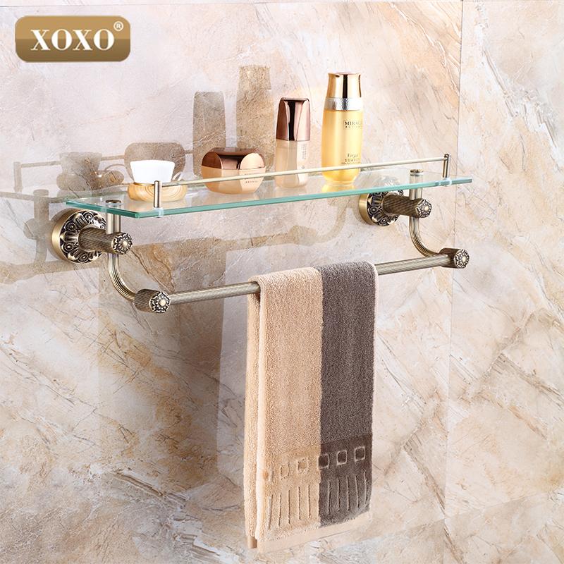 XOXO Luxury Carving Antique Single Tier Bathroom Glass Shelf Wall Mounted Bathroom Cosmetic Storage Rack Bathroom 15087B