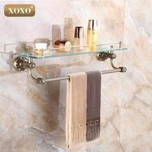 XOXO Luxury Carving Antique Single Tier Bathroom Glass Shelf Wall Mounted Bathroom Cosmetic Storage Rack Bathroom 15087B