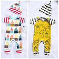 Autumn Winter Casual Unisex Toddler kids long sleeve print Romper hat set Infant Baby Boys Girls Romper Jumpsuit hat Outfits Set