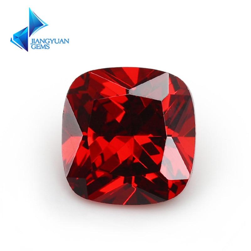 5x5 ~ 12x12mm couleur grenat coussin coupe forme lâche CZ perles de pierre taille brillante 5A gemmes synthétiques zircone cubique