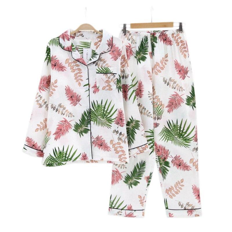 Fresh leaves women pyjamas long sleeve 100% gauze cotton summer cozy nightdress for women pijama mujer   pajamas     sets