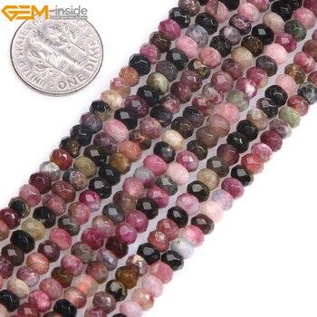 edeacf119f17 Gema AAA grado Natural Multicolor turmalina facetada Rondelle Heishi Spacer  Beads para joyería hacer 15