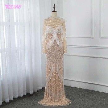 99a63ec7022 Роскошные длинный рукав алмазы вечернее платье 2019 Высокая шея Русалка  отделка бисером длинное вечернее платье Дубай YQLNNE