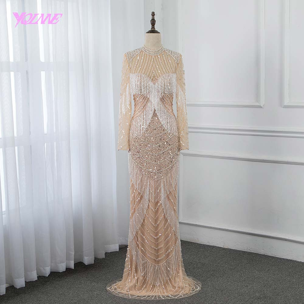 Luxury Full Sleeve Diamonds   Evening     Dress   2019 High Neck Mermaid Beading Pageant Gowns Formal   Dresses   Dubai YQLNNE