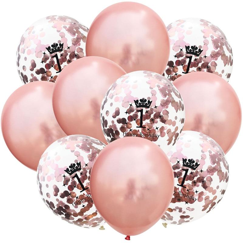 5/10 шт, золотой шар для первого дня рождения, 1 год, для первого дня рождения, украшение для вечеринки, конфетти, баллон, для маленьких девочек Воздушные шары и аксессуары      АлиЭкспресс