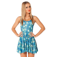 Autumn Women Dress Adventure Time BMO Print Dresses Reversible Skater Dress Sexy Sleeveless Vestidos Woman Clothing