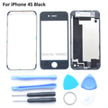 4S Black Whole Housing Replacement For Iphone 4S Back Cover & Front Glass Screen & LCD Frame Holder with 3M Sticker &Tools