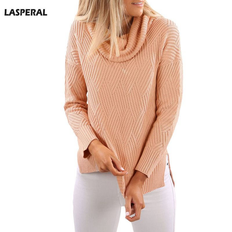 LASPERAL 2017 Long Sleeve Turtleneck Sweater Winter Pullover Knitted Basic Sweaters Solid Side Split Women Casual Autumn Cloth