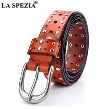 LA SPEZIA Women Waist Belts Rivet Genuine Cow Leather Belt Jeans Female Brown Fashion Real Leather Brand Ladies Pin Buckle Belt цена и фото