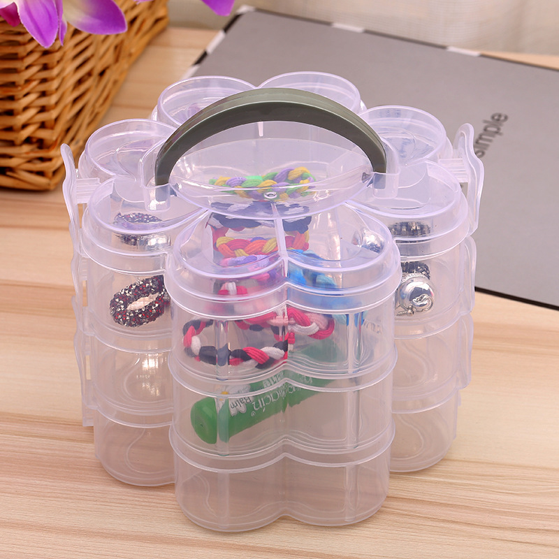HOT 3 Tier Stackable Organiser Plastic Craft Storage Box Jewellery Tool Container Clear