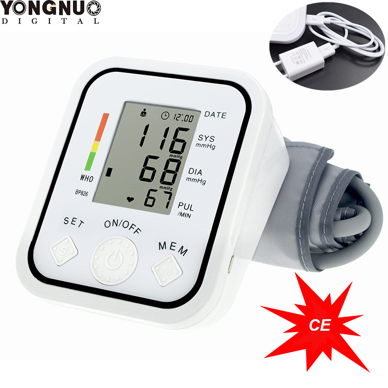 USB Automatic Upper Arm Sphygmomanometer with large LCD screenTonometer Blood Pressure Monitor Pulse Rate Meter