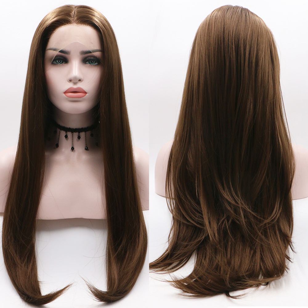 Fantasy Beauty Long Natural Straight Brown Lace Front Wig Half Hand Tied Realistic Looking Glueless Synthetic