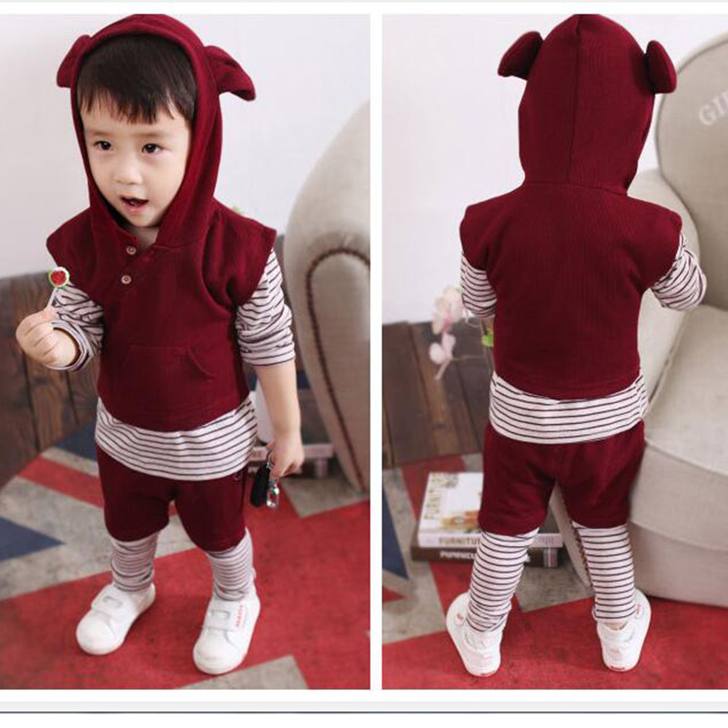 Kids Clothing Set Baby Boy T-shirt Striped + Rabbit Ear Vest + Sport Pants Three Piece Set Sport Suit 3PCS Boys Clothes Set New 2016 new suit boys clothes brand winter sweater for kids 3 13 year with m word three piece set boys vest pants coat a 26145