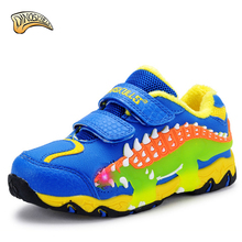 Dinoskulls Sport Kids warm fleeceShoes Led Boy Sneakers With Light 2017 Running Shoes Breathable Tenis Infanti 3D Dinosaur Shoes