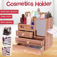 Makeup Organizers Cosmetic Storage Box Large Cosmetic Makeup Jewelry Lipsticks Storage Organizer Case 3 Layers Wooden Holder
