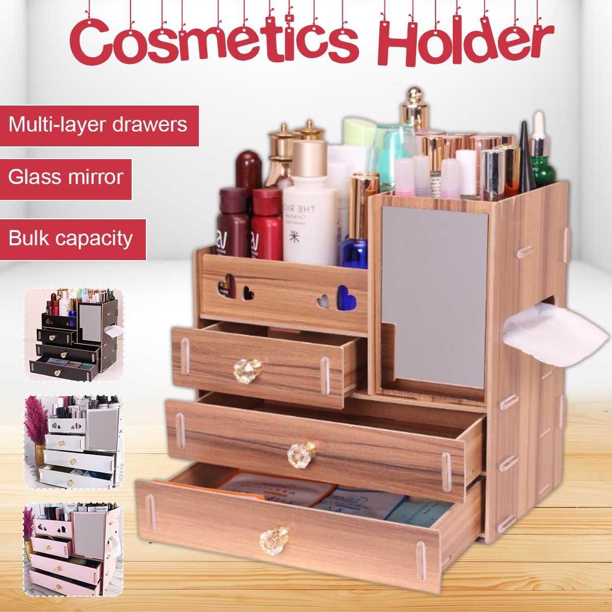 Organiseurs de maquillage boîte de rangement cosmétique grand maquillage cosmétique bijoux rouge à lèvres organisateur de rangement boîte 3 couches support en bois
