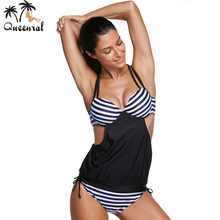 Queenral Swimwear Tankini plus size Female Large Size bathing suit bra plavky tankini bra set trikini set Swimsuit