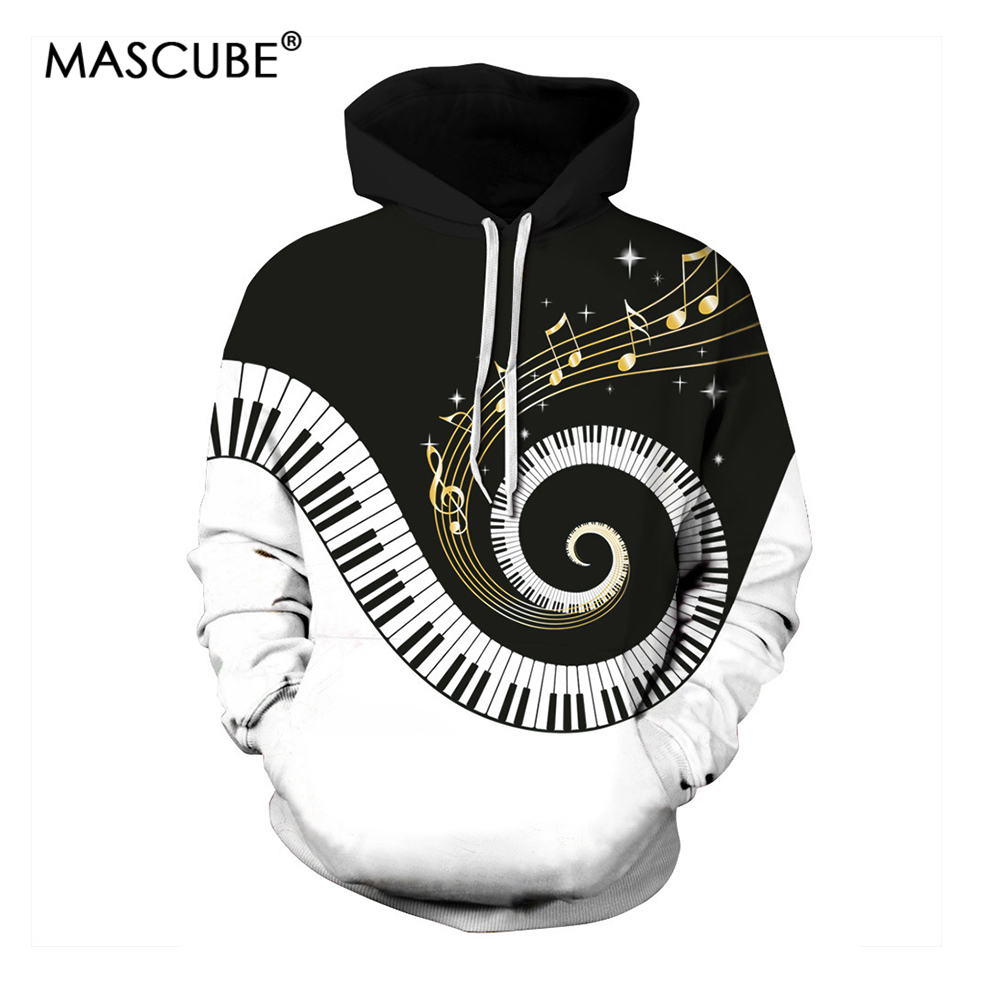 MASCUBE New Hoodies Sweatshirts Men 3D Pullover Funny Rotating Piano Rock Tracksuits Hooded Male Jackets Fashion Casual Outwear