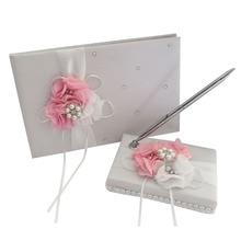 Горячая белая атласная Цветочная Свадебная книга для гостей набор ручек с Милая Лента бисер MAL999