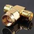 Адаптер SMA Штекер Для 2 SMA Jack Женский T Тип RF Разъем Трехместный 1M2F Латунь Золочение VC657 P0.5