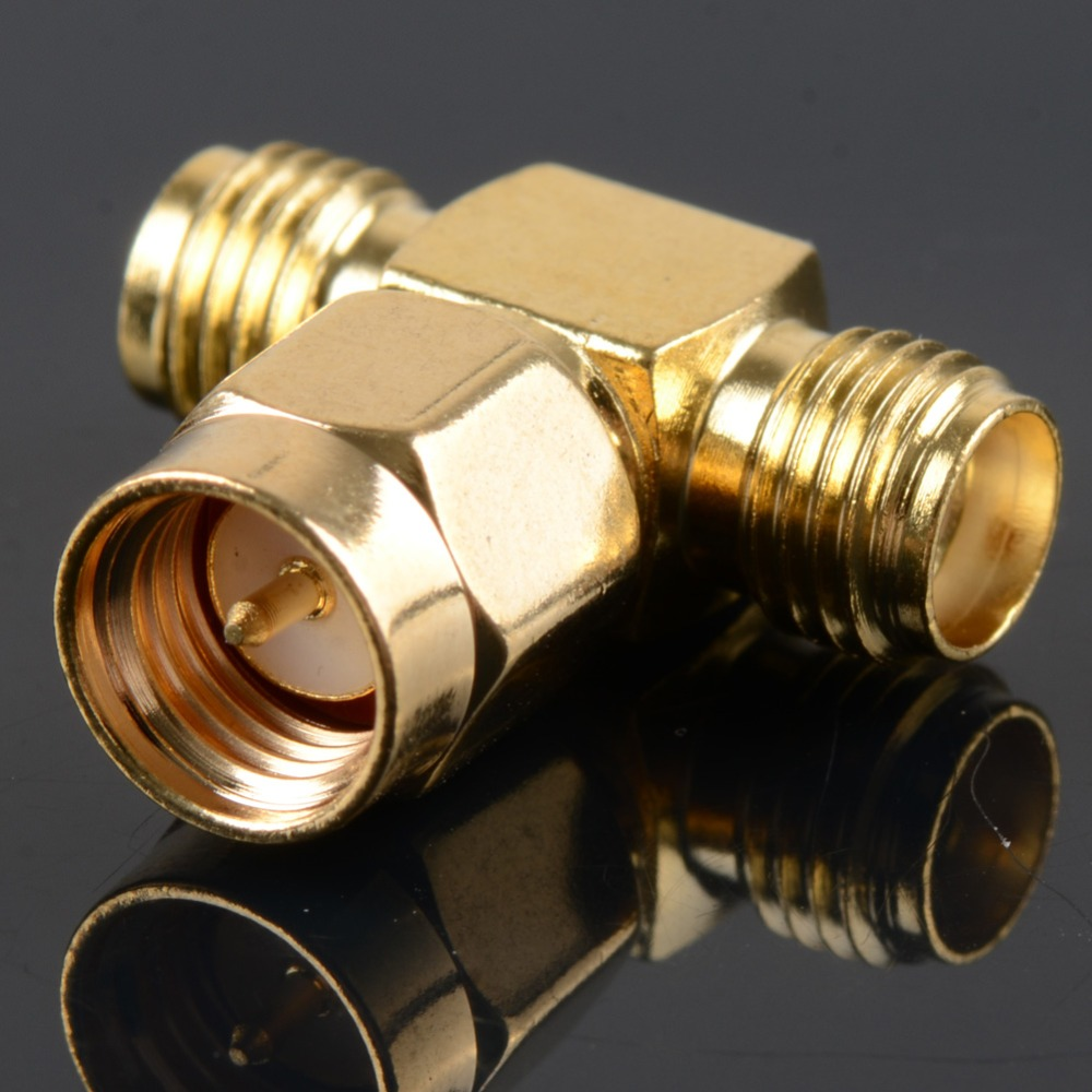 Adapter SMA Plug Male To 2 SMA Jack Female T Type RF Connector Triple 1M2F Brass Gold Plating VC657 P0.5 2 set lot neutrik powercon type a nac3fca nac3mpa 1 chassis plug panel adapter