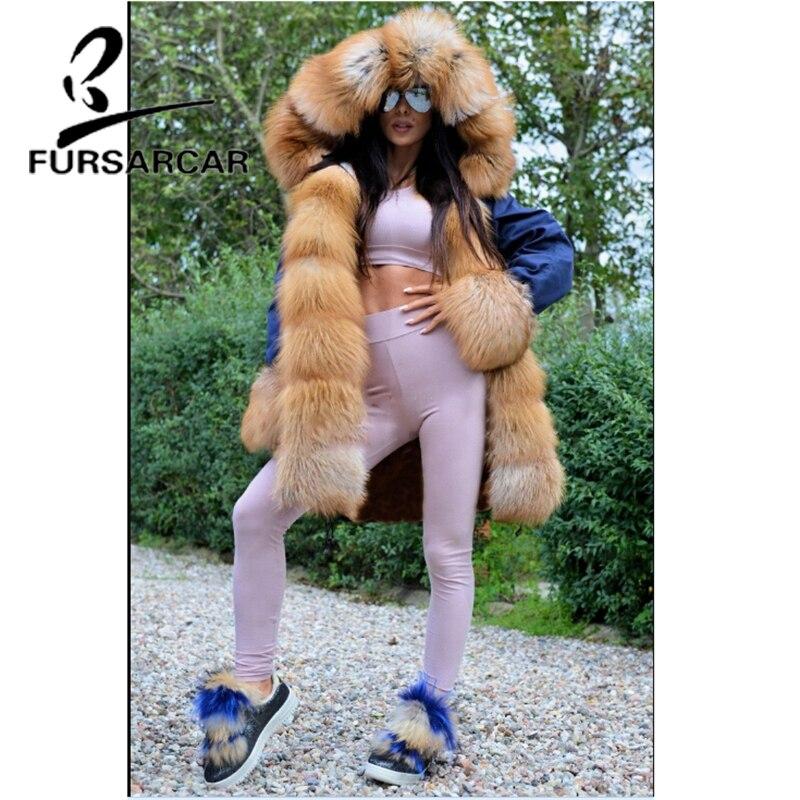 FURSARCAR 2019 luxe nouveau Style réel manteau de fourrure Parka femmes avec grand or fourrure de renard garniture capuche et manchette hiver épais chaud Parka de fourrure