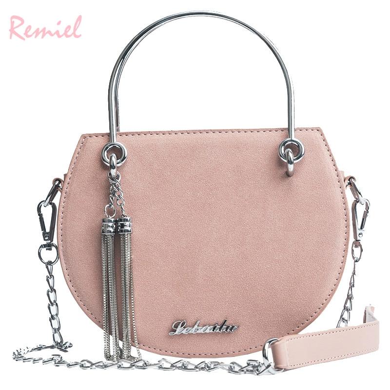 Women's Designer Handbag 2018 New Quality Matte PU Leather Women bag Metal Ring Tote bag Tassel Chain Shoulder Messenger Bags