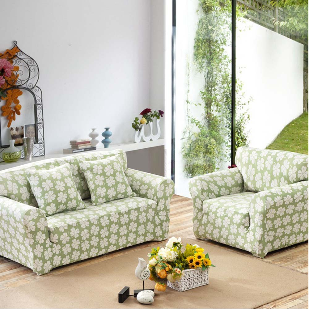 100% Polyester Stretch Seat Couch Covers Pastoral Floral Printed Design For Living Room Sofa Cover Single/Double/Three/Four-Seat