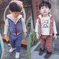 Anlencool 2017 Baby winter sweater clothes color cartoon cat fleece three piece set of foreign trade baby clothes set
