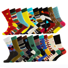 все цены на Fashion Colorful Brand Happy Socks Men New Cotton Men Socks Casual Funny Socks male Crew Socks Chaussettes Homme Fantaisie