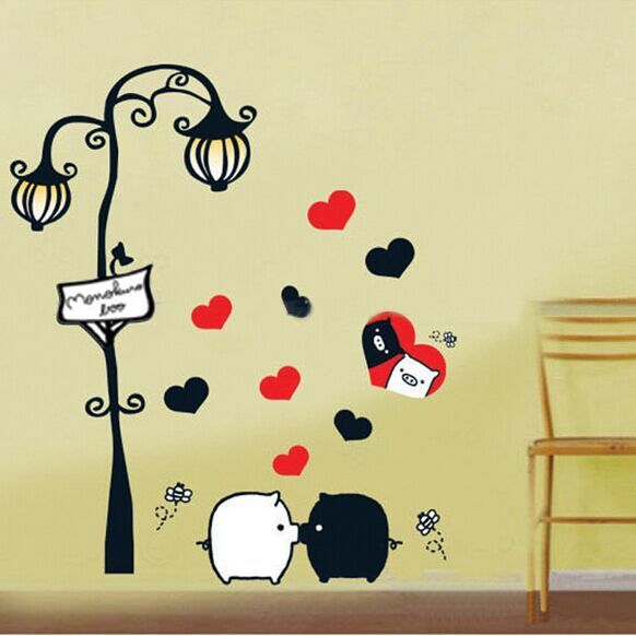 High Quality DIY Cartoon Black and White Pig Under Light Wall ...