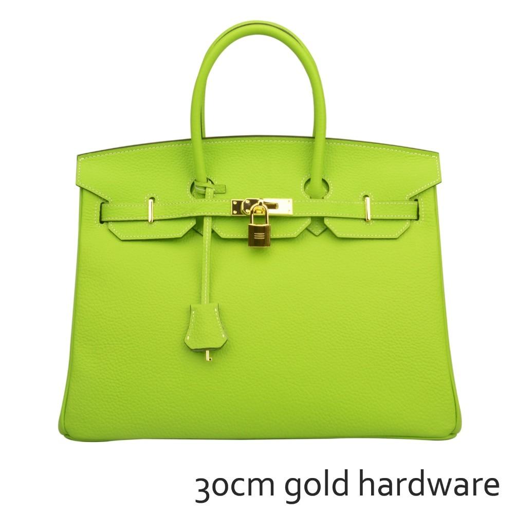 eeb1c15c3b Ainifeel Women s Genuine Leather Padlock Handbags With Gold Hardware (30cm)